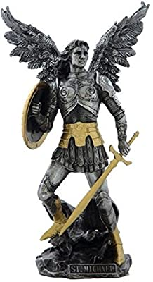 12.75 inch Archangel Saint Michael Figurine Pewter and Gold Color