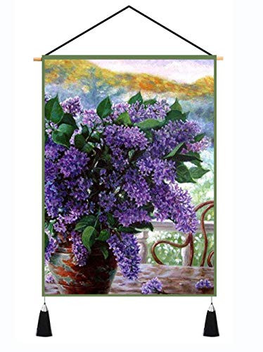 YUYINGXIANG Tapiz De Flor Lila Pintura Alfombra Colgante De Pared Decoración De Arte para El Hogar Tapices De Tela De Pared Sala De Estar Dormitorio Manta-45X65Cm