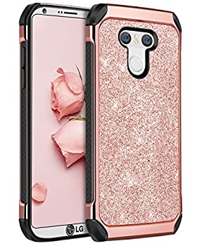 BENTOBEN Compatible with LG G6 Case Phone Case LG G6 Slim Thin Shinny Glitters Shockproof Protective Dual Layer Hybrid Hard PC Soft TPU Bumper Drop Protection Girly Women Covers for LG G6 Rose Gold