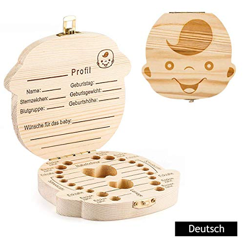GeekerChip Zahnaufbewahrungsbox für(Junge)für Zahnspeicher und Aufbewahrungskasten für fötales Haar für Andenkengeschenke für neugeborene Babys [Deutsche Version]