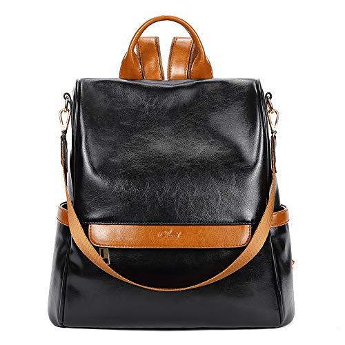 CLUCI Rucksack Damen Leder Mode Diebstahlsicherer Reiserucksack Schultertasche für Frauen 2 in 1 Ölwachs Schwarz