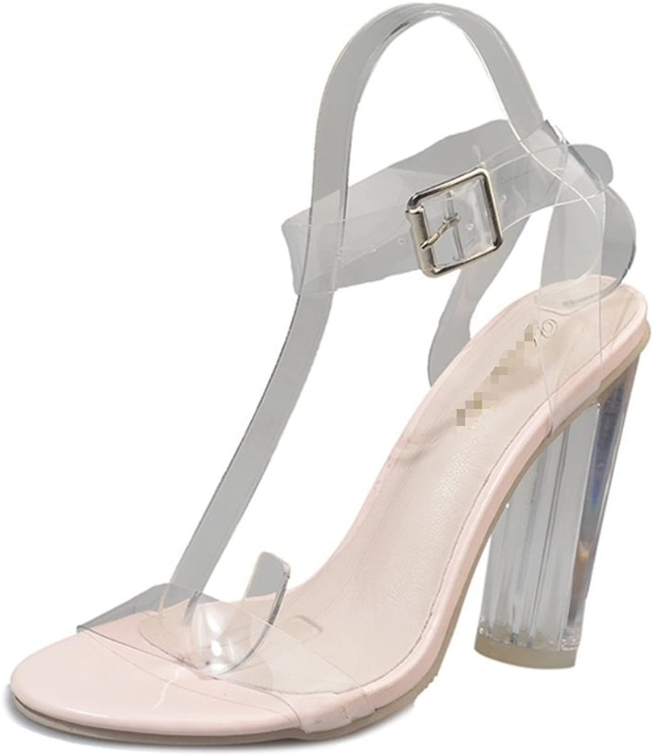 Women's Thick Heels-Sexy one Word with Toe Sandals-Pure Crystal shoes Transparent Pierced shoes Formal, Wedding, Party Comfort Classic Series Zhhzz