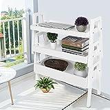 Estantería librería de 3 estantes, librería de escalera de madera de paulonia + MDF, escalera decorativa pequeña para casa, expositor para plantas, librería, 65 x 30 x 79,7 cm