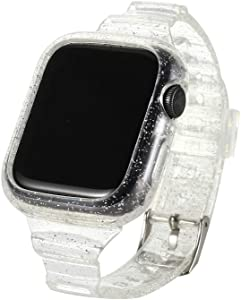 Clear Glitter Watch Bands with Protective case 38mm/40mm,Transparent TPU Smart Apple iWatch Bands, Crystal Sports Wristband Bangle Strap iPhone Watch Series 6 5 4 3 2 1 (Clear, 38mm/40mm)