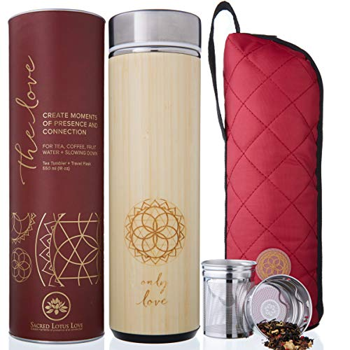 The Love Bamboo Tea Tumbler with tea Strainer and Infuser + Sleeve | NEW Leak-proof Lid. 511ml/18oz for Loose Leaf Tea Mug, Coffee Cup & Fruit Water Flask | Vacuum Insulated Travel Bottle. BPA Free