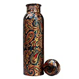 J.R. Handicraft World Pure Copper Printed Water Bottle | Designer Copper Bottle 1 Litre, Leak Proof,...
