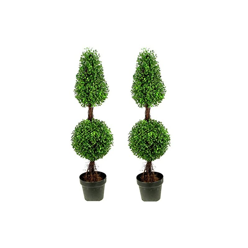 silk flower arrangements admired by nature 3' artificial boxwood leave double ball shaped topiary plant tree in plastic pot, green/two-tone- set of 2