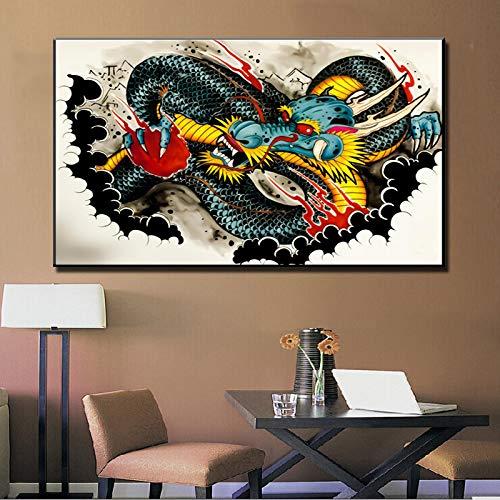 HGlSG DIY Malen nach Zahlen Abstrakte Leinwand Malerei Wandkunst Bild Graffiti Drachen Leinwand Kunstplakat, Wohnzimmer Hauptdekoration Wandbild30x45cm(Kein Rahmen)