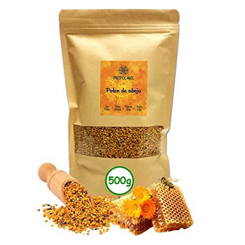 500 gramos - Polen de España (UE) 100% natural. Polen de abeja libre de residuos. Polen fuente de proteinas, aminoácidos, lípidos, vitaminas y minerales. ⭐