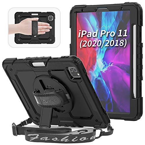 SEYMAC for New iPad Pro 11 2020 Case, Support iPad 2nd Pencil Charging, with [Screen Protector] & [Shoulder Strap] & [ Rotating Hand Strap], Full Body Shockproof Rugged Case with Pencil Holder, Black