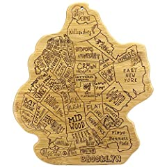 Celebrate life in the city that never sleeps with this beautiful bamboo cutting and serving board in the shape of the borough of Brooklyn Fun, whimsical laser-engraved artwork calls out all the unique neighborhoods that make up Brooklyn: Coney Island...