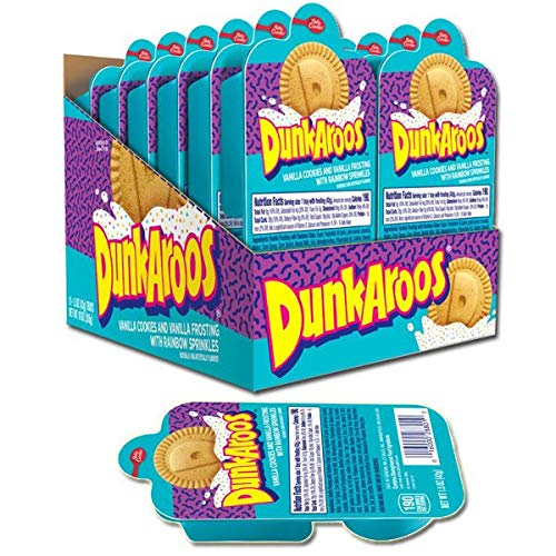 Dunkaroos Vanilla Cookies and Vanilla Frosting With Rainbow Sprinkles by Betty Crocker, 12 count-1.5oz. trays, Case packed