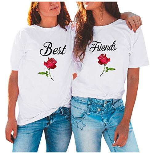 Best Friends Sister Tshirt für Zwei Damen Freund Shirts mit Rose Tops Sommer Oberteil BFF Geburtstagsgeschenk Symbolische Freundschaft