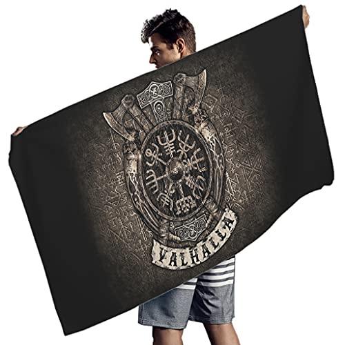 Perstonnoli Toalla de playa con runas vikingas, celtas, de microfibra, absorbente, toalla de playa, toalla de baño, manta de pícnic, esterilla de yoga, tapices, rectangular, color blanco, 150 x 75 cm