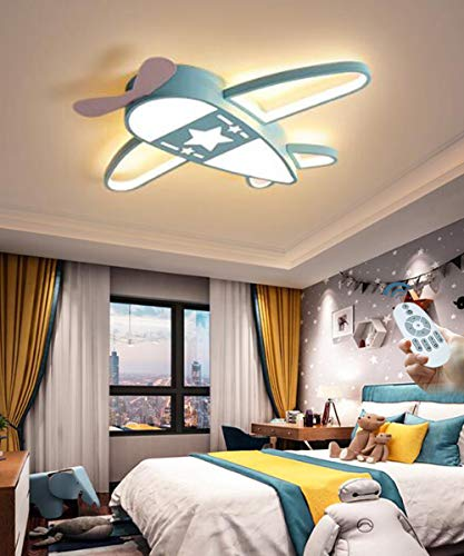 Flugzeug Rakete Deckenleuchte Sterne Kinderleuchten Acryl Deckenlampe Beleuchtung Ultradünn LED Dimmbare Energiesparende Lampe Babyzimmer Schlafzimmer Wohnzimmer Kinderzimmer Cartoon Lichter,Blau,59cm