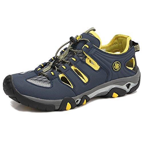 MERRYHE Été Hommes Chaussures De Eau en Cuir Maille Rapide Sec Escalade Chaussures en Plein Air Trekking Randonnée Sneakers Chaussure De Sport,Blue-42