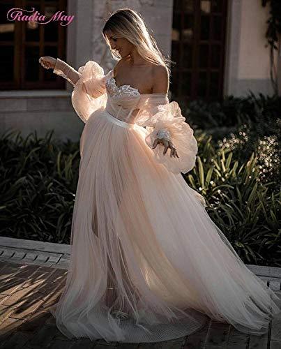 WANGMEIING trouwjurk, vintage, kant, boho-beach, lange mouwen, met hartvormige uitsnijding en champagne-uitsnijding, tule, bruidsjurk, bohemian-stijl