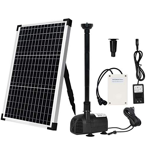 Solar Fountain Water Pump Kit 30 W, Lift 8.5 FT Submersible Powered Pump...