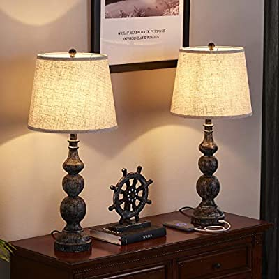 USB Farmhouse Lamp, Traditional Table Lamp Set of 2 with Dual USB Ports, 27.8'' H Bedside Lamp Sets, Industrial Bedroom Lamp Poly Table Light with Drum Lampshade, Rustic Lamp for Bedroom(2 Pack)