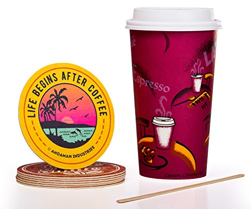 Solo Bistro 24 oz Hot Paper Coffee Cups 100ct Bundle - Cup Lid Stir Stick and Coaster - Eco-Friendly BPA Free Leak Resistant