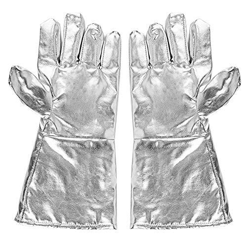 Hochtemperaturhandschuh, 700 ℃ Hochtemperaturbeständige Handschuhe mit Dicken Fünf-Finger Handschuhen für Strahlungsresistente Wärmedämmung