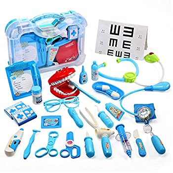 CUTE STONE Toy Medical Kit Kids Pretend Play Dentist Doctor Kit with Electronic Stethoscope Toy and Carrying Case Role Play Educational Toy Doctor Playset for Toddler Boys and Girls
