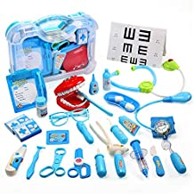 CUTE STONE Toy Medical Kit, Kids Pretend Play Dentist Doctor Kit with Electronic Stethoscope Toy and Carrying Case, Role Play Educational Toy Doctor Playset for Toddler Boys and Girls