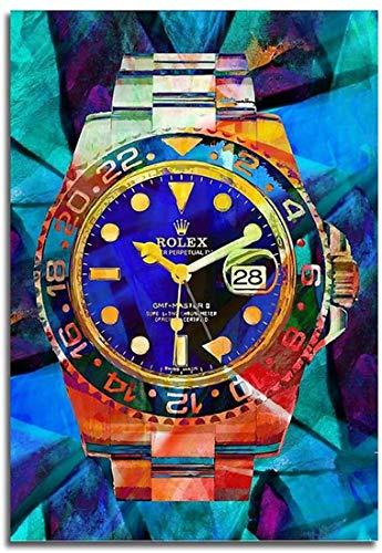 GDKK Leinwand Malerei Kunst Rolex Uhren Pop Art Leinwand Hd Moderne Abstrakte Kunst Drucken Poster Büro Schlafzimmer Wand Cafe Dekoration Kein Rahmen (70×100cm)