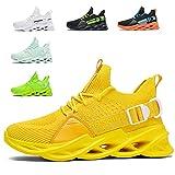 Zapatillas de Deportes Hombre Mujer Zapatos Deportivos Running Zapatillas para Correr Ligero y con Estilo Negro Blanco Gris Dorado G133 Yellow 38 EU