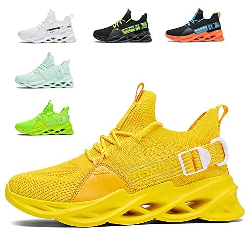 Zapatillas Deportivas Hombre Mujer Zapatos Deportivos Running Zapatillas para Correr Fitness Gimnasio Sneakers G133 Yellow 37EU