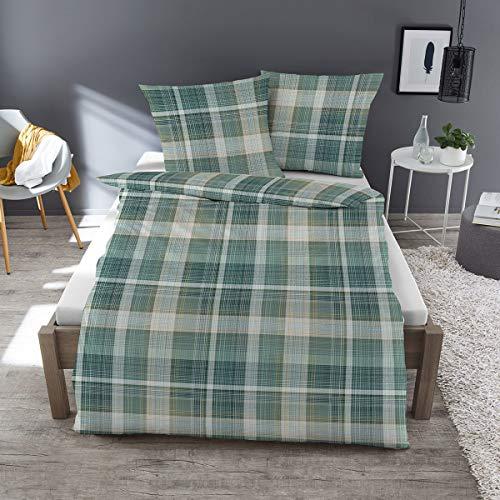 Dormisette Feinbiber Bettwäsche Karo grün 1 Bettbezug 135x200 cm + 1 Kissenbezug 80x80 cm