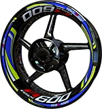 Motocicleta Moto Llanta Inner Rim Tape Decal Pegatinas F2 para Suzuki GSX-R 600 (Azul/Limón)