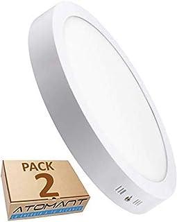 Pack 2x Plafon LED Redondo De Superficie 18W. Color Blanco
