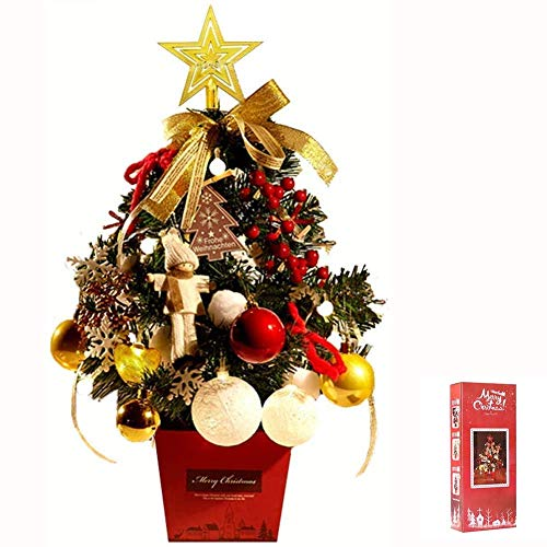 VIVICF Christmas Trees with Lights Mini Xmas Trees pre lit with Multi Color LED Lights Desk Table Top Decoration with Ornaments and Baubles 45cm