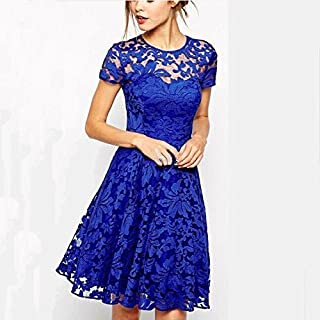 Size L - Lace Pattern Dress For Women - Evening Dres - Royalblue
