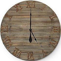 Wall Charmers Farmhouse Wall Clock|Big Wall Clock Big Clock for Wall Large Outdoor Clock Vintage Wall Clock Wall Clocks Large Decorative and Clocks for Living Room Decor (30 Rustic Wood)