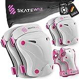 SKATEWIZ Protect-1 - Tamaño XS en Rosa - Protecciones de Rodillos - Protegido de Rodilla Infantil - Accesorio de Patinete Scooter para niños - Skate niño de 8 años