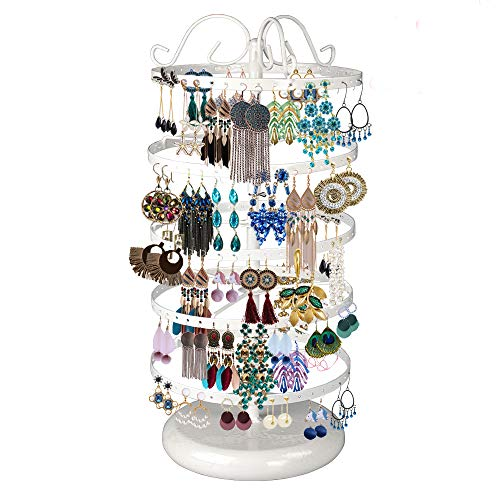 5 Tiers Metal Rotating Earring Holder Organizer, TANOKY Exquisite Jewelry Display Stand Necklace Rack Holder, 220 Holes for Earrings- 14x6.3 Inch (White)