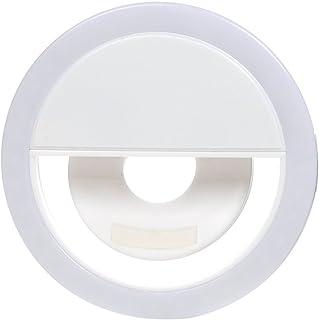 クリップオン自撮りリングライト ポータブルLED3レベルライト YouTube/写真/メイクアップ用 iPhone ノートパソコン カメラに対応 ホワイト GA-PX3C0055-B