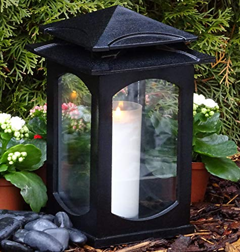 ♥ Graflantaarn graflamp Klara Premium XL massief 28,0 cm met grafkaars grafdecoratie graflicht lantaarn kaars lamp