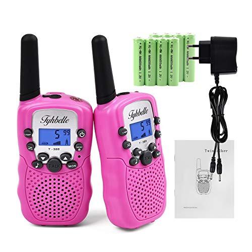 2x Kids smart Walkie Talkies inkl. AKKU Wiederaufladbare T-388 Funkgerät für Mädchen Jungen Kinder (Pink)