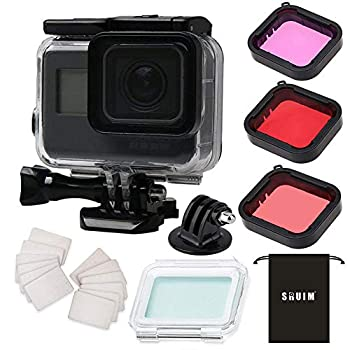 Waterproof Case for Gopro Hero 7 Hero 6 Hero 5 Hero 2018 Black Accessories Housing Case Protective Shell with Anti Fog Inserts and Filter Kit Suitable for Underwater Diving Photography 45M