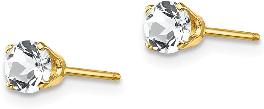14k Yellow Gold 4mm April/white Topaz Post Stud Earrings Birthstone April Prong Gemstone Fine Jewelry For Women Gifts For Her