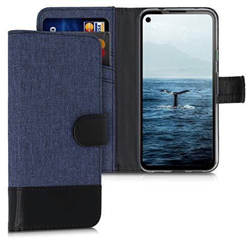 kwmobile Wallet Hülle kompatibel mit Google Pixel 4a - Hülle mit Ständer - Handyhülle Kartenfächer Dunkelblau Schwarz
