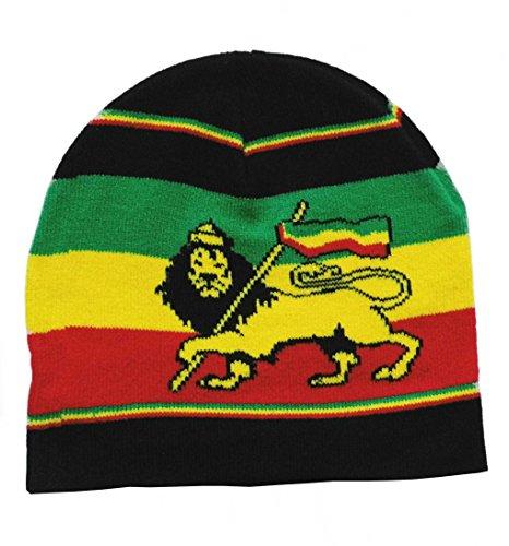 Black Out Rasta Löwe Lion Beanie Mütze Strickmütze, S-L, Mehrfarbig