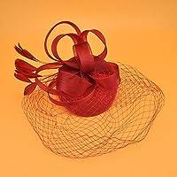 ヘアアクセサリー有名人ディナーチャイナヘッドドレスレトロ宮殿ドレス年次総会キャットウォーク髪飾りガーゼガーゼ子供小さなシルクハット女性-赤