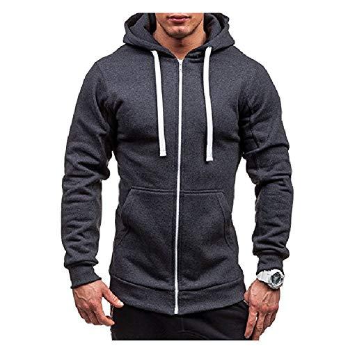 Morbuy Homme Cardigan Outerwear Sweat-Shirt Veste Cardigan Longue Zippée Manches Longue Manteau Long Slim Fit (XL, Gris foncé)