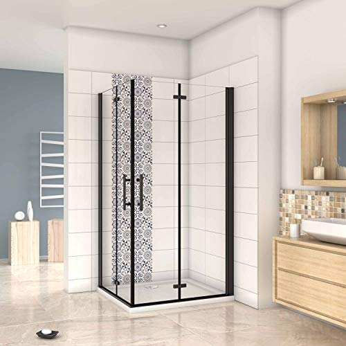 Mampara ducha Cabina de ducha 4 puertas plegables con perfil negro,estilo industrial,...