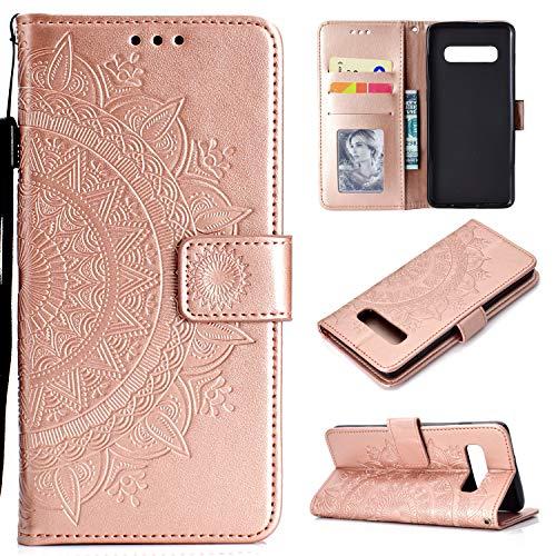 LODROC Galaxy S10e Hülle, TPU Lederhülle Magnetische Schutzhülle [Kartenfach] [Standfunktion], Stoßfeste Tasche Kompatibel für Samsung Galaxy S10e/G970F - LOHH0500695 Rosa Gold