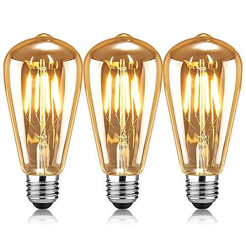 AVNICUD Vintage Edison Glühbirne, LED E27 Lampe 4W/220V ST64 Retro Filament Glühlampe,Warmweiß 2500K Glühbirnen Dekorative Antike Beleuchtung Leuchtmitte (3 Stück)
